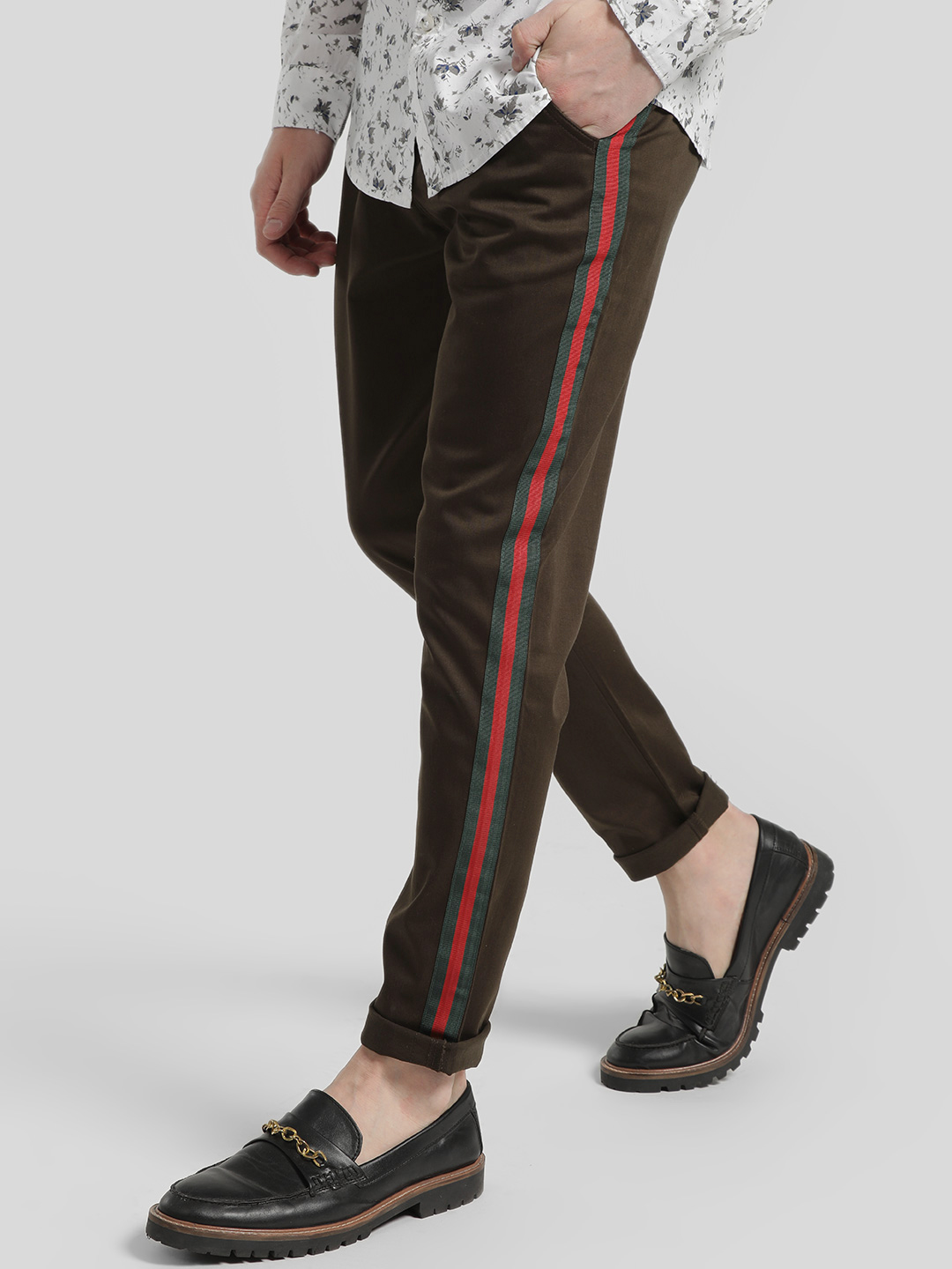 REALM Brown Contrast Side Tape Trousers 1