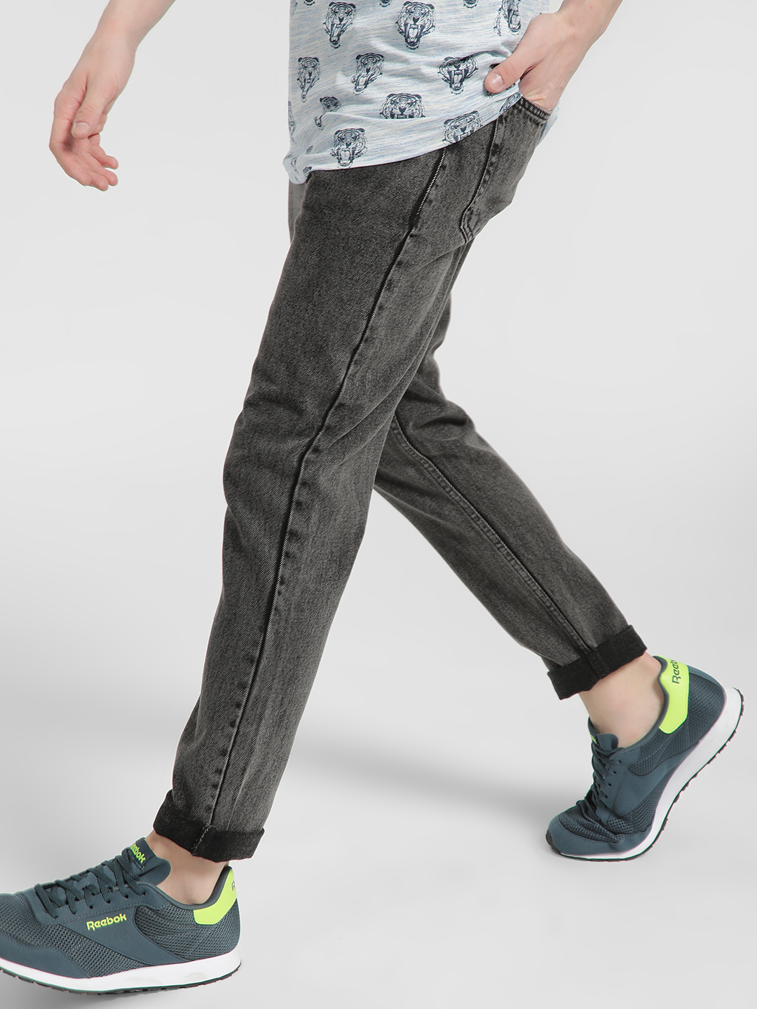 REALM Grey Acid Wash Slim Jeans 1