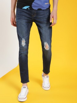 REALM Mid-Wash Distressed Skinny Jeans