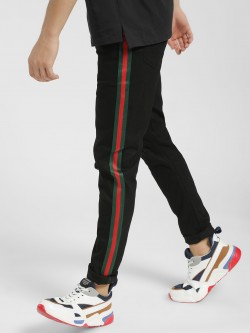 REALM Contrast Tape Ripped Knee Skinny Jeans