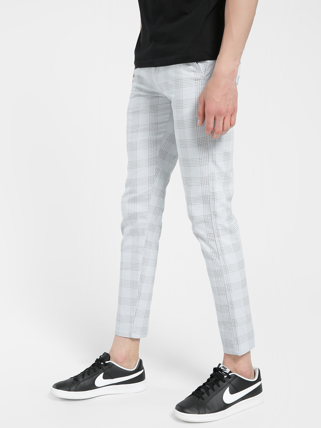 AMON Blue Windowpane Check Slim Trousers 1
