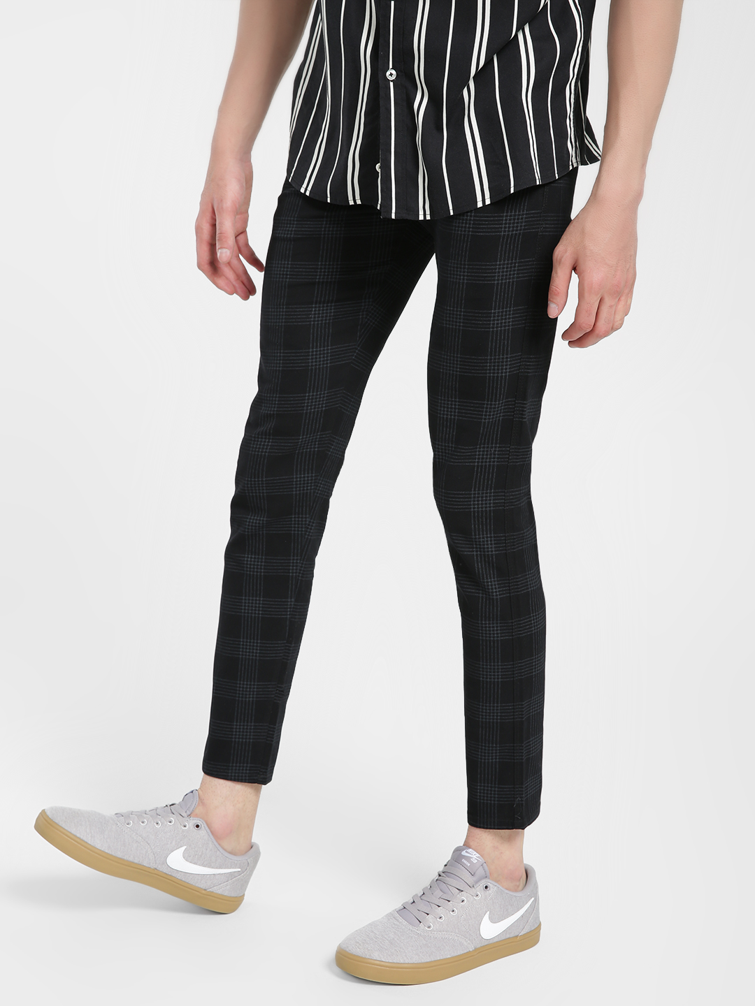 AMON Black Windowpane Check Slim Trousers 1