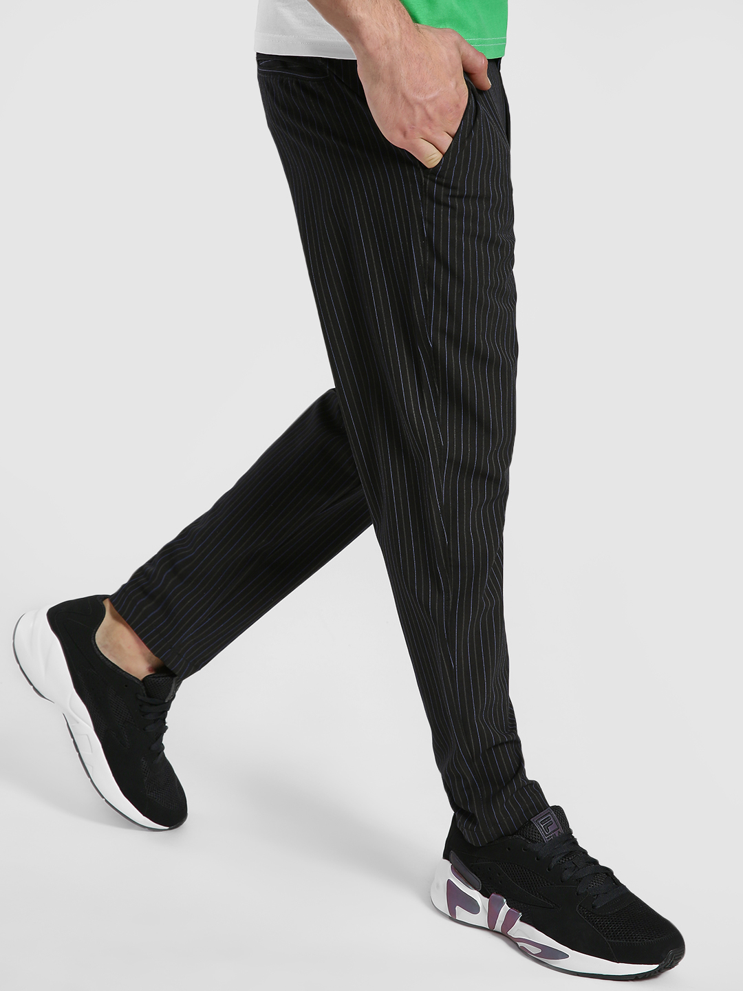 Spring Break Black Pinstripe Slim Fit Trousers 1