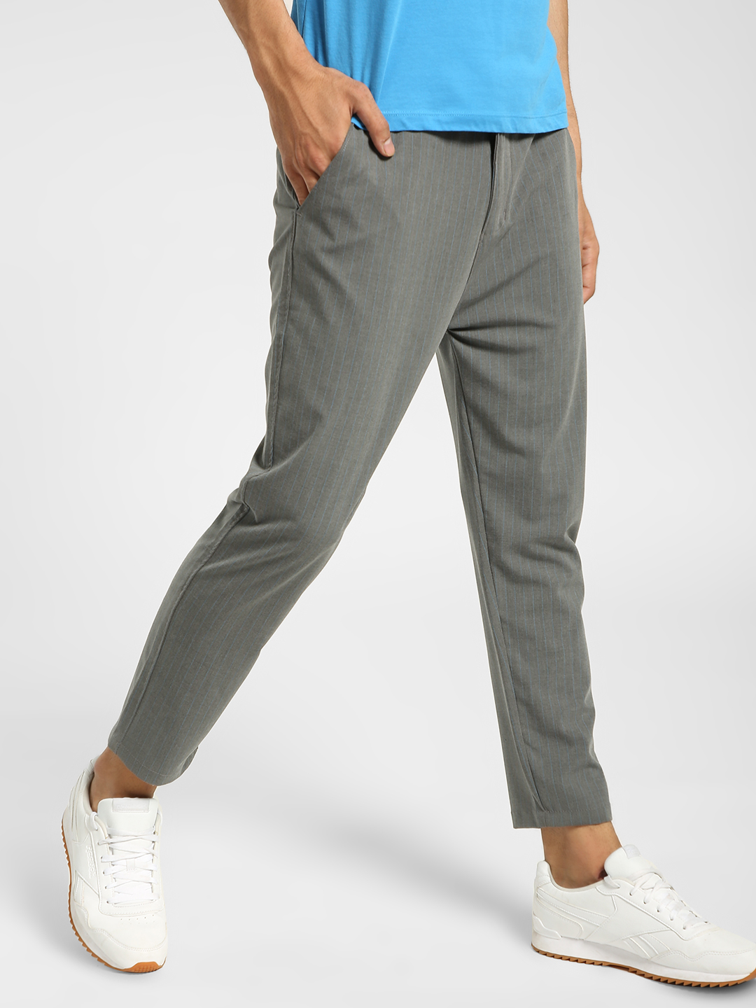 Spring Break Grey Vertical Stripe Drawcord Trousers 1