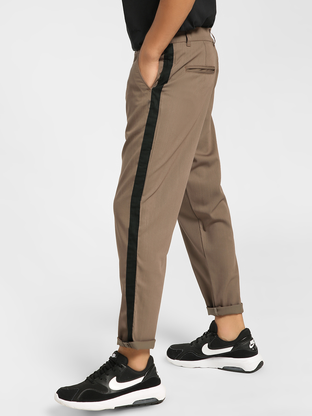 Spring Break Brown Side Tape Drop Crotch Trousers 1