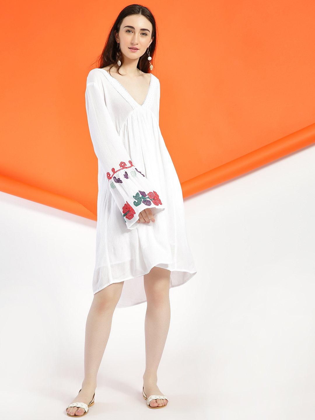 Rena Love White Embroidered Flared Sleeve Shift Dress 1
