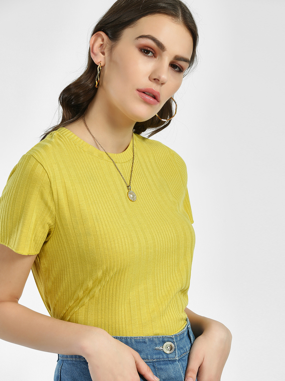 Sbuys Yellow Ribbed Crop Top 1