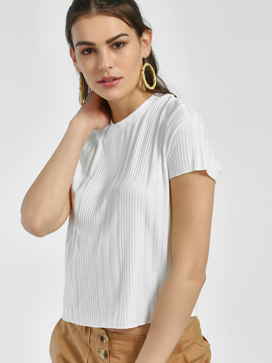 Sbuys White Ribbed Crop Top 1