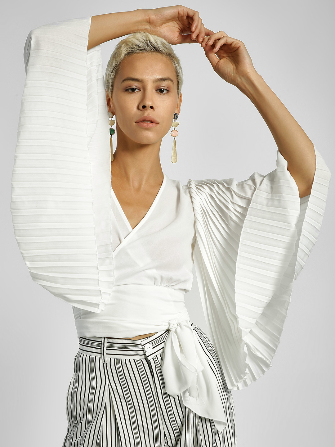 Ri-Dress White Pleated Sleeve Wrap Crop Top 1