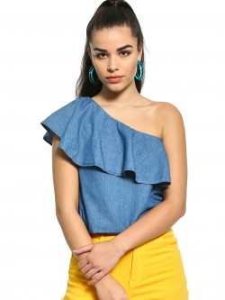 Noble Faith One Shoulder Denim Top