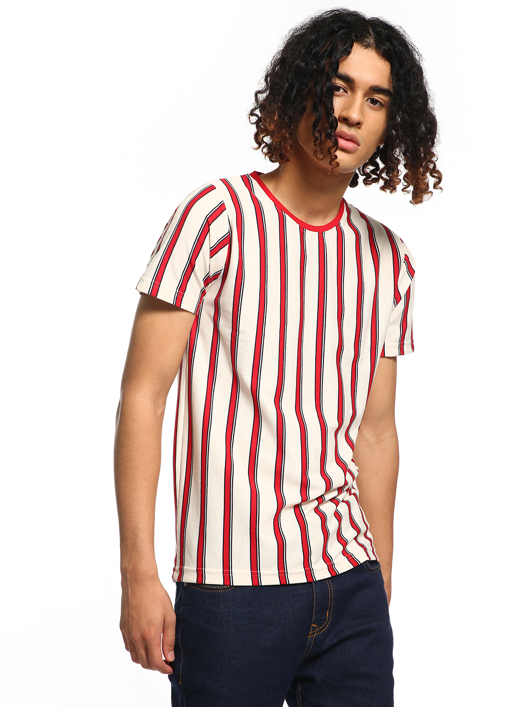 Deezeno Multi Vertical Stripe Print T-Shirt 1