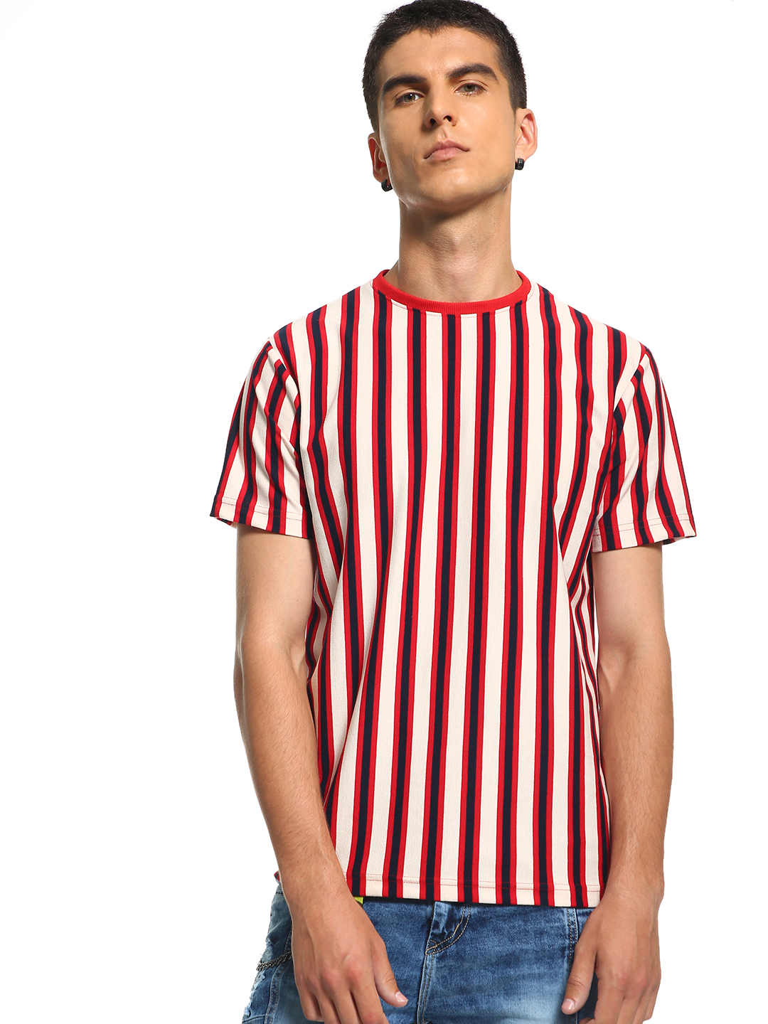 Deezeno Burgundy Vertical Stripe Print T-Shirt 1