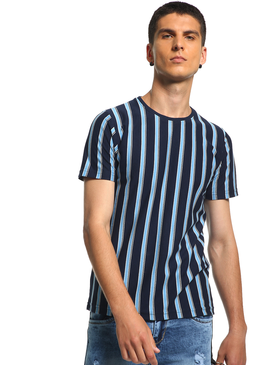 Deezeno Blue Vertical Stripe Print T-Shirt 1