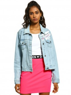 K Denim KOOVS Light-Wash Graffiti Print Denim Jacket