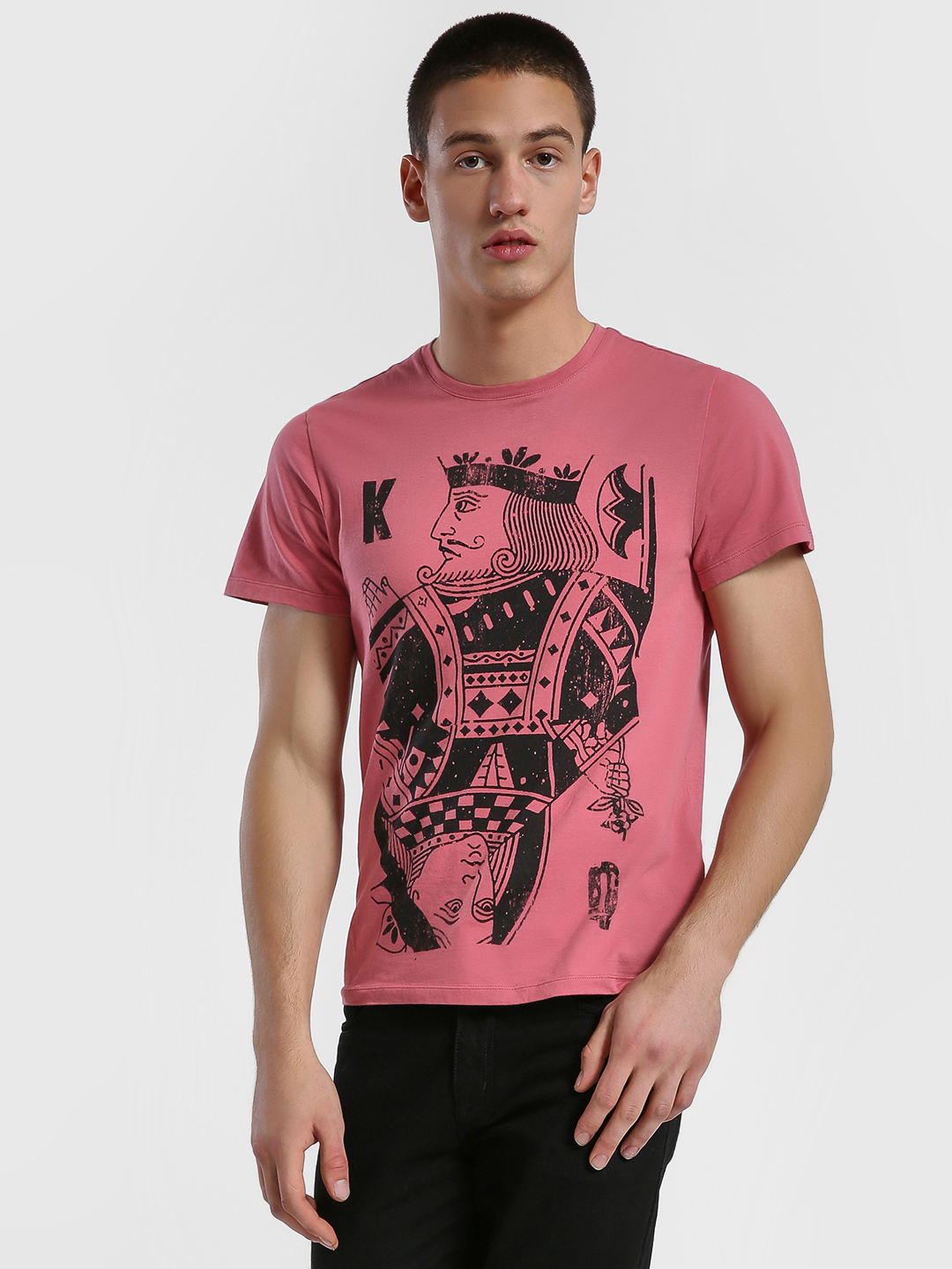 Leo Sansini Pink Poker King Queen Print T-Shirt 1