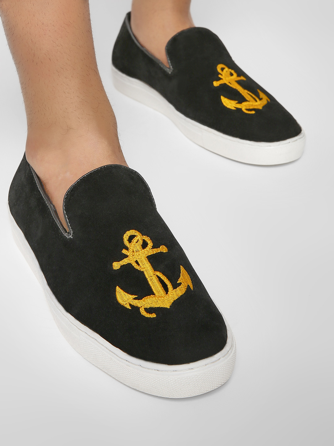 Bolt Of The Good Stuff Black Sailor Embroidered Suede Slip-On Shoes 1