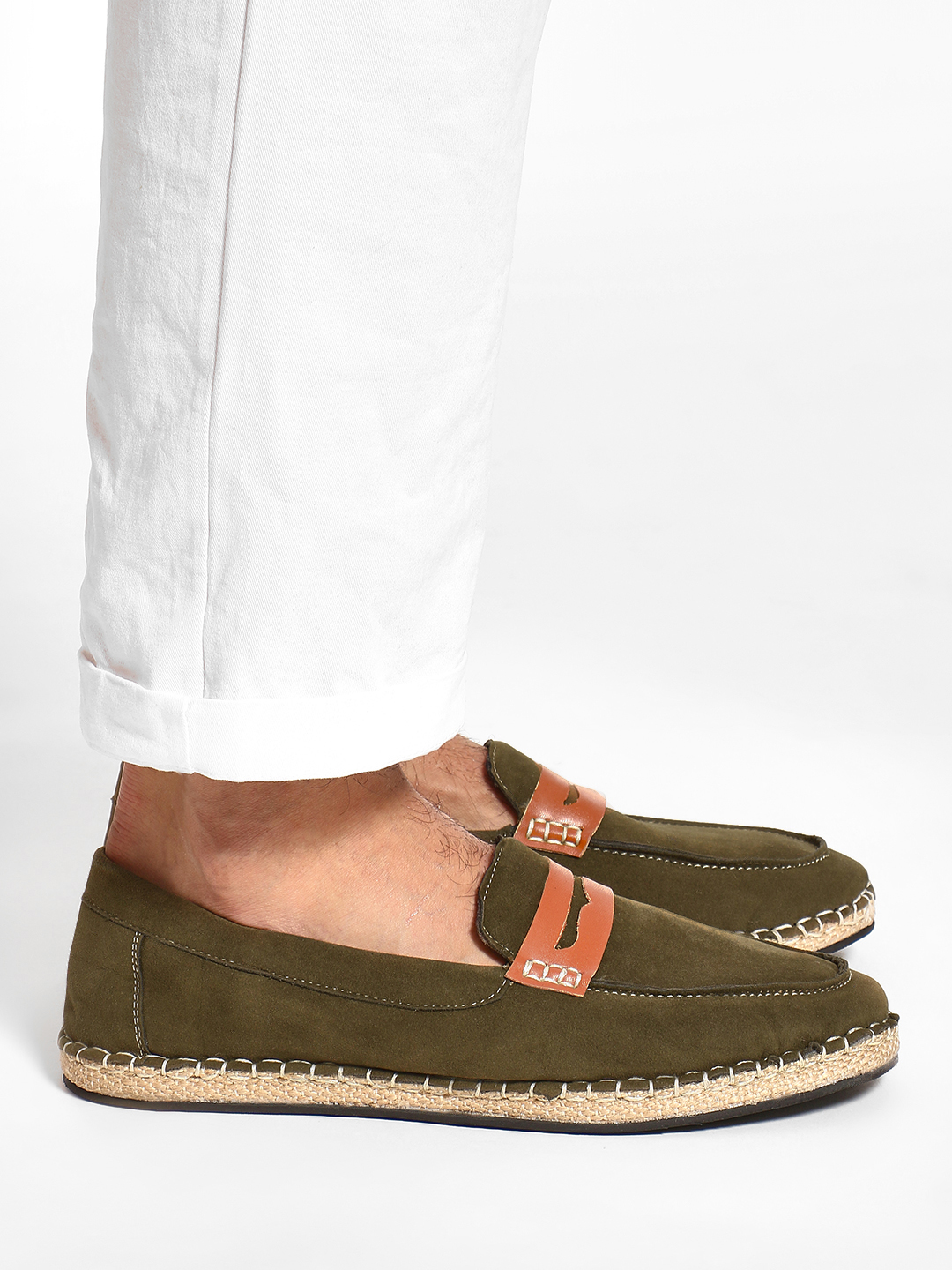 Bolt Of The Good Stuff Green Suede Penny Loafer Espadrilles 1