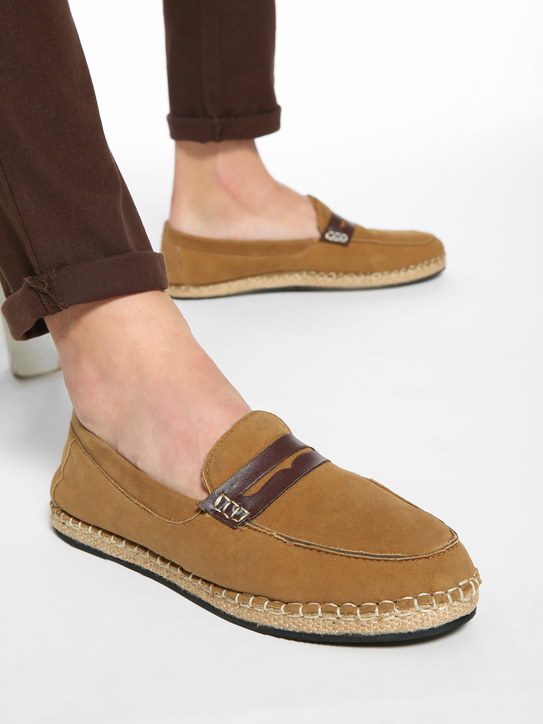 Bolt Of The Good Stuff Brown Suede Penny Loafer Espadrilles 1