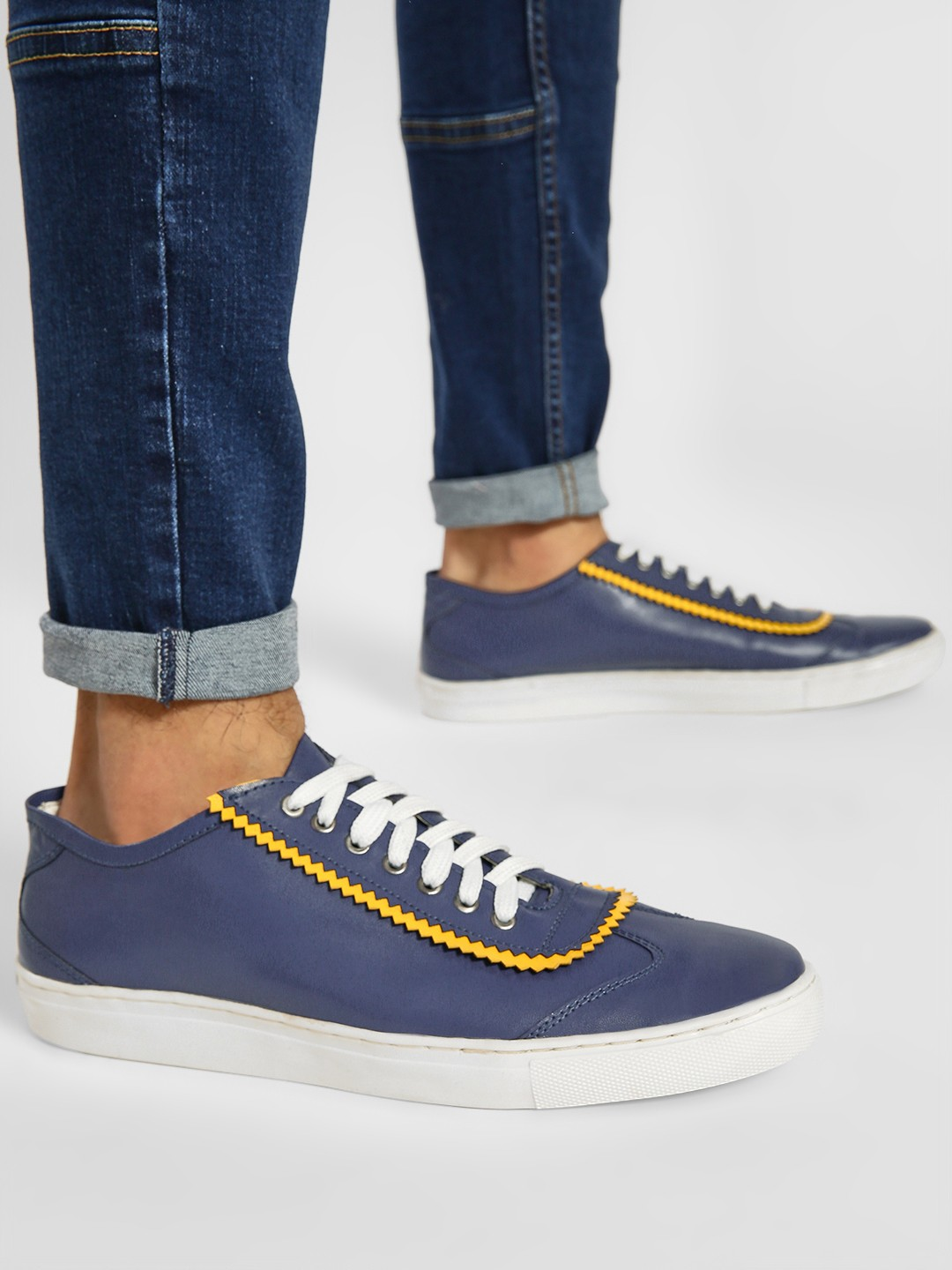 Bolt Of The Good Stuff Blue Contrast Trim Panelled Sneakers 1