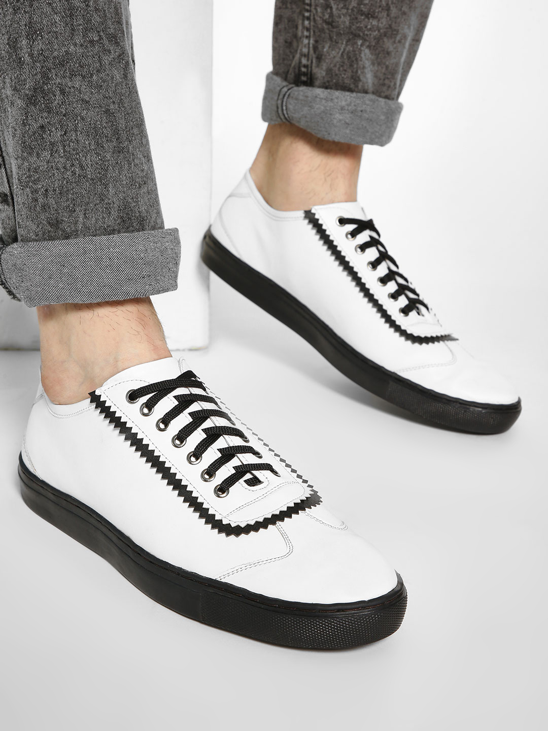 Bolt Of The Good Stuff White Contrast Trim Panelled Sneakers 1
