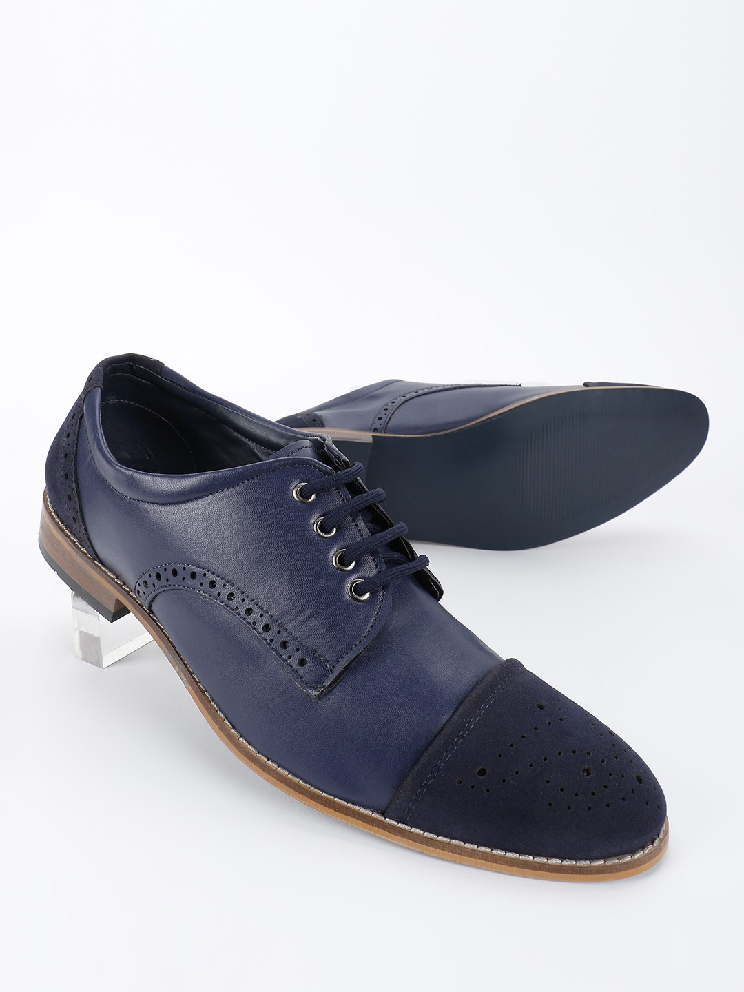 Bolt Of The Good Stuff Blue Brogue Punches Derby Shoes 1