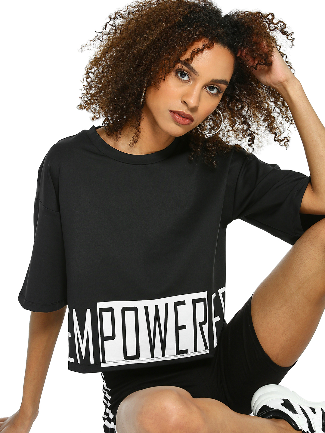K ACTIVE Black KOOVS Empowered Print Crop T-Shirt 1