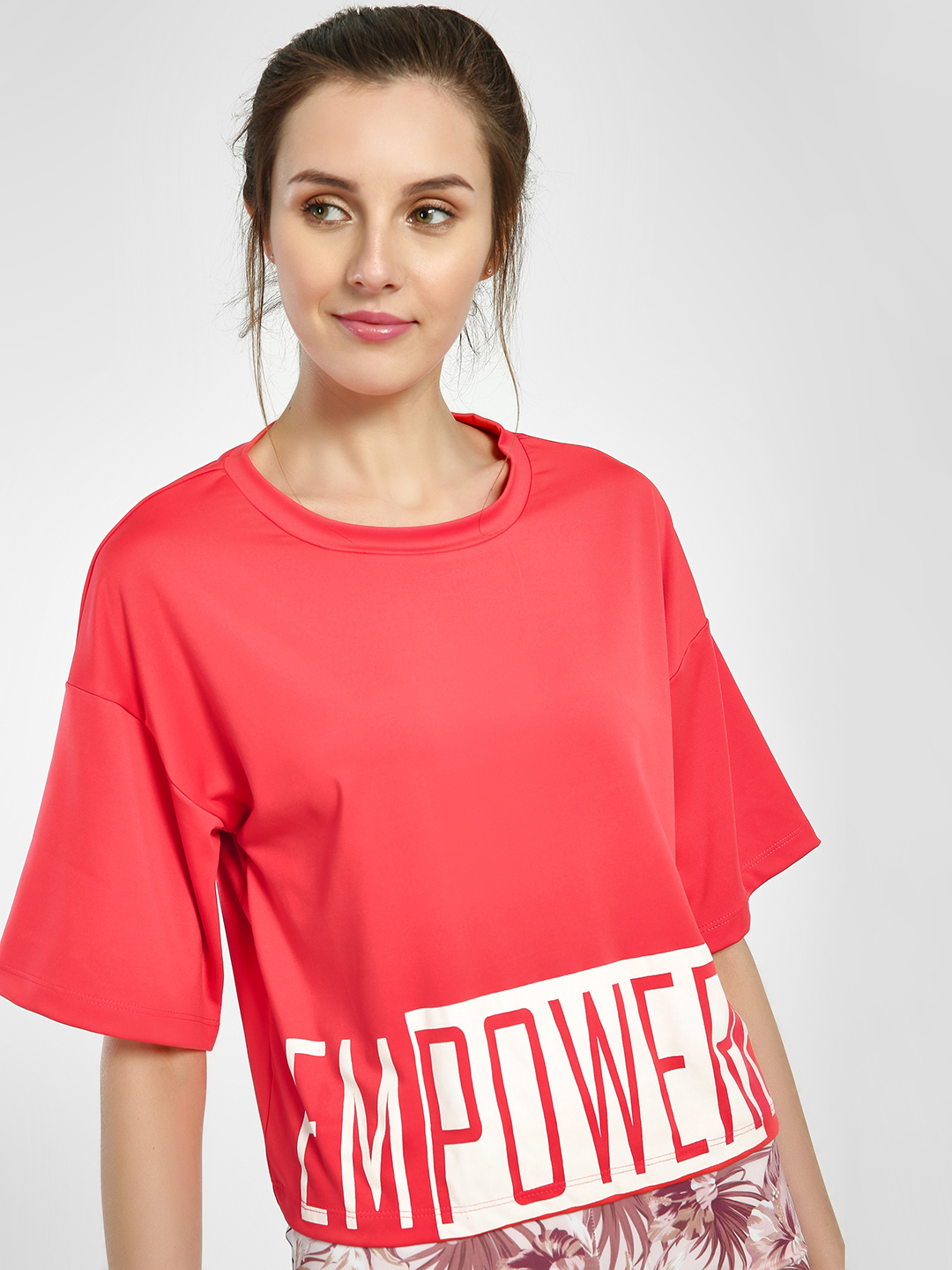 K ACTIVE Pink Empowered Print Crop T-Shirt 1