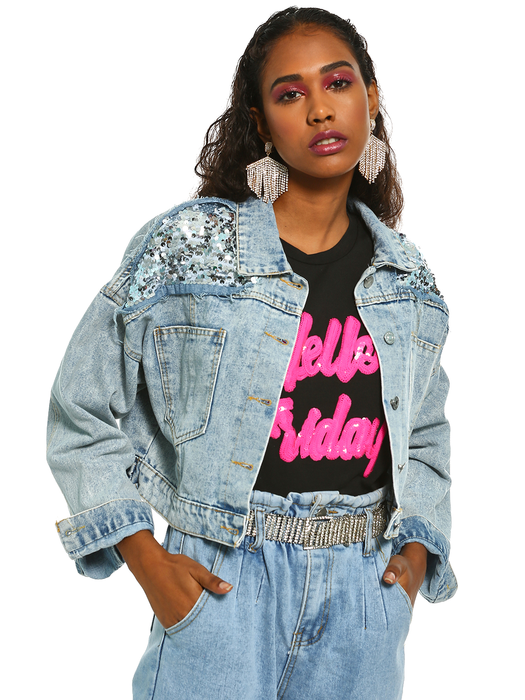 K Denim Blue KOOVS Sequin Studded Crop Denim Jacket 1