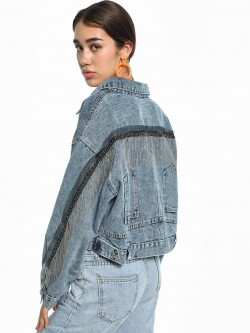 K Denim KOOVS Stonewash Fringe Trim Denim Jacket