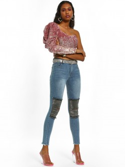 K Denim KOOVS Embellished Biker Panel Skinny Jeans