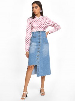 K Denim KOOVS Front Button Denim Midi Skirt