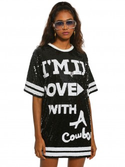 KOOVS Slogan Sequinned Varsity Shift Dress