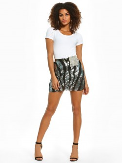 KOOVS Abstract Stripe Sequinned Mini Skirt