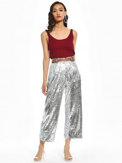 KOOVS Sequinned Wide Leg Cropped Trousers
