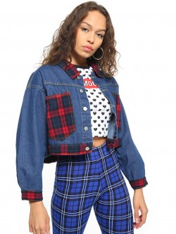 K Denim KOOVS Dark Wash Checked Pocket Jacket