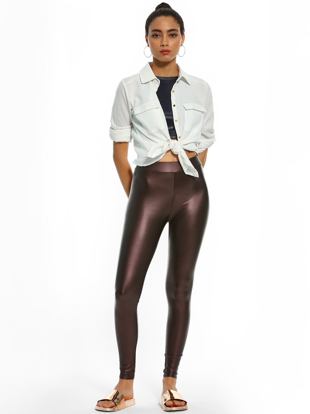 KOOVS Brown Metallic High Waist Leggings 1