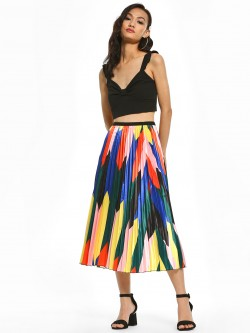 KOOVS Pleated Plisse Midi Skirt