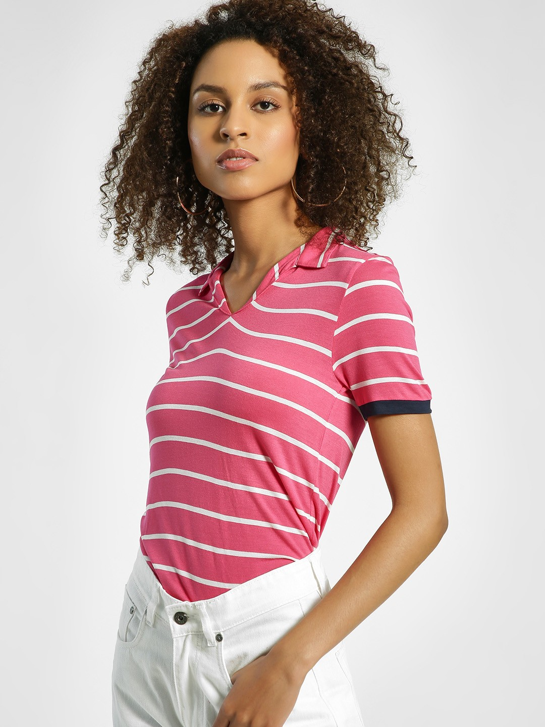 United Colors of Benetton Pink Horizontal Stripe Collared T-Shirt 1