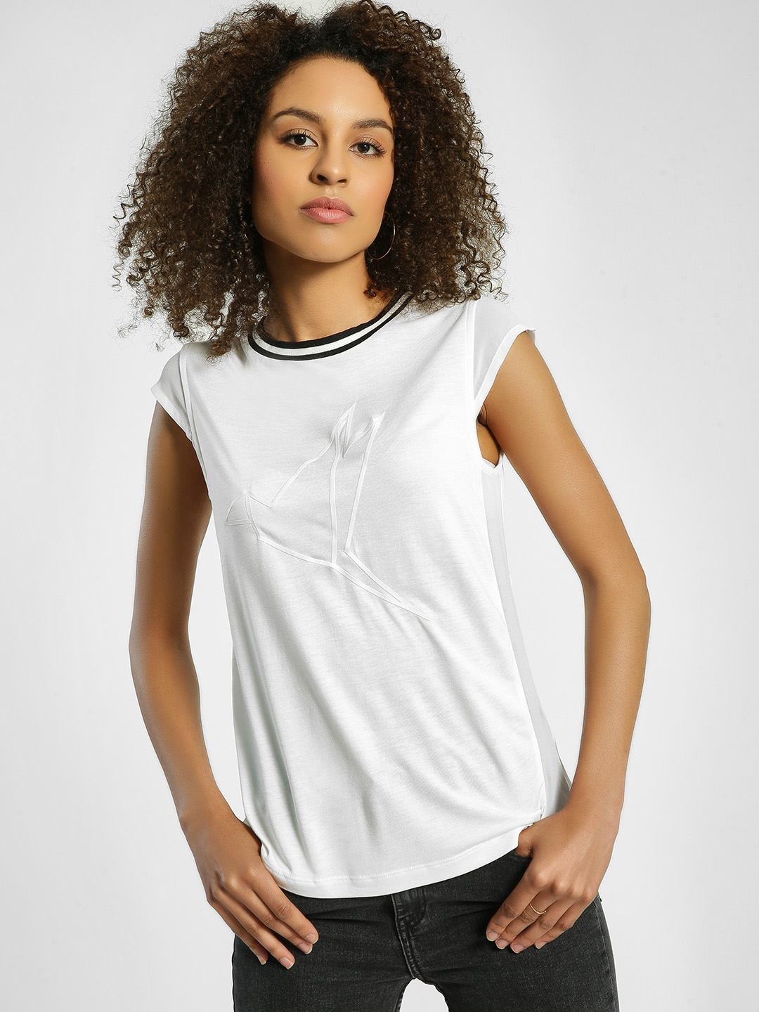 United Colors of Benetton White Bird Embossed Ringer T-Shirt 1