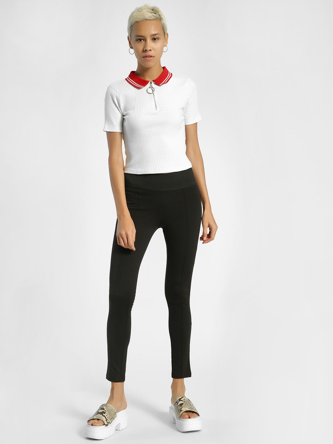 United Colors of Benetton Black Basic Cropped Treggings 1