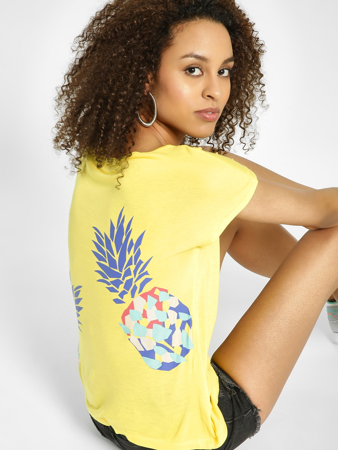 United Colors of Benetton Yellow Pineapple Print Back Top 1