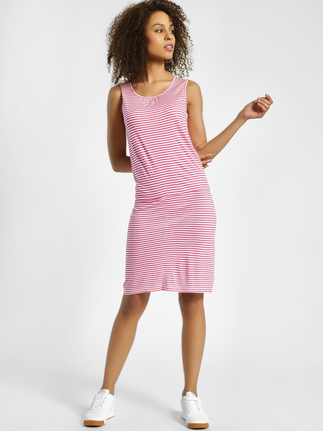United Colors of Benetton Pink Horizontal Stripe Sleeveless Shift Dress 1
