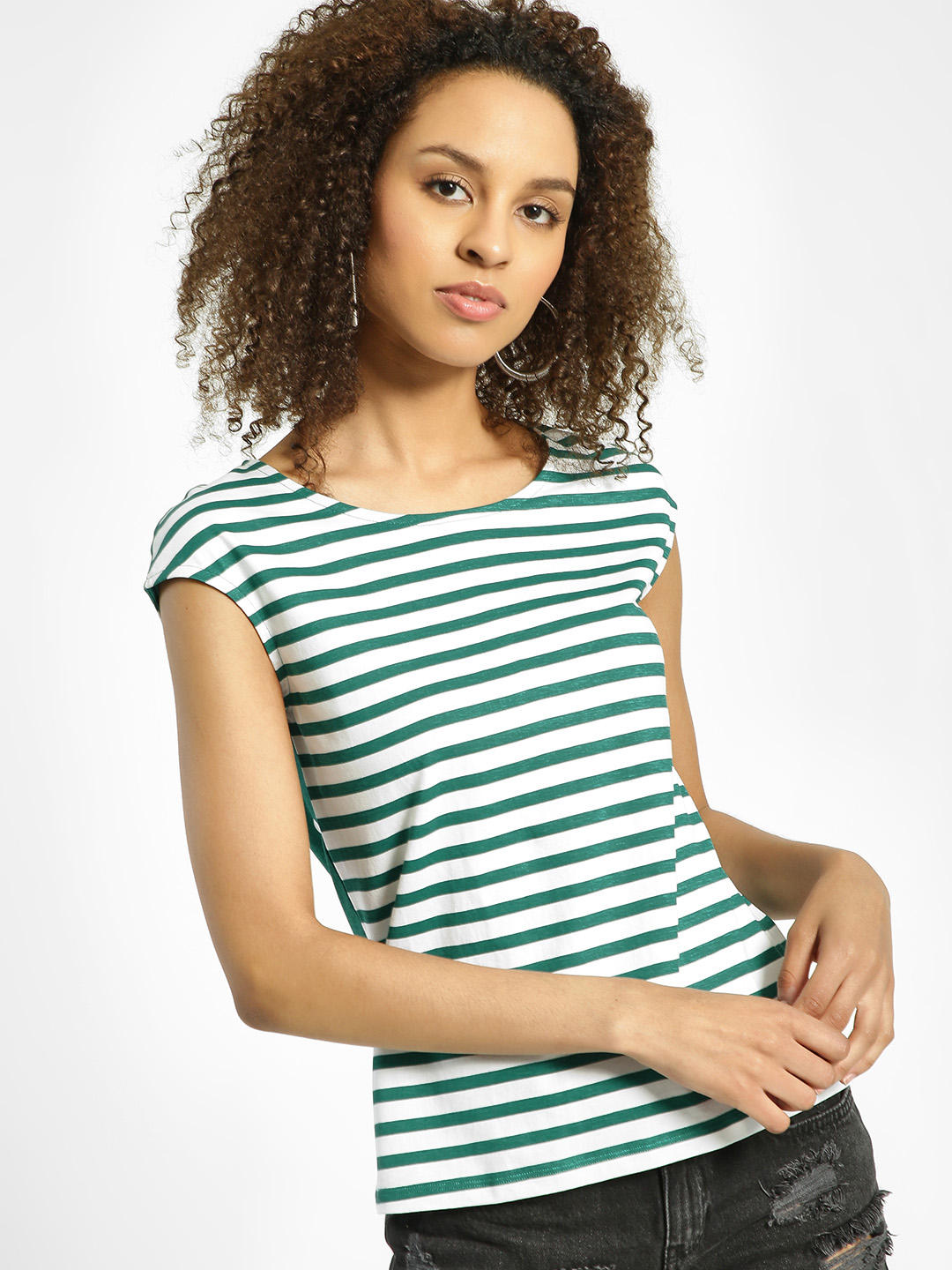 United Colors of Benetton Green Stripe Polka Dot Print T-Shirt 1