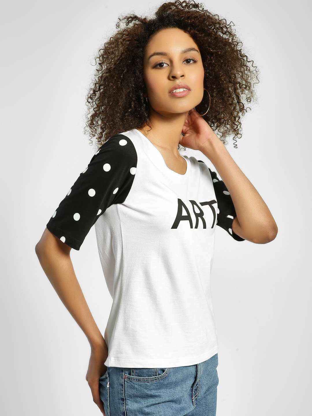 United Colors of Benetton White Art Print Polka Dot Sleeve T-Shirt 1