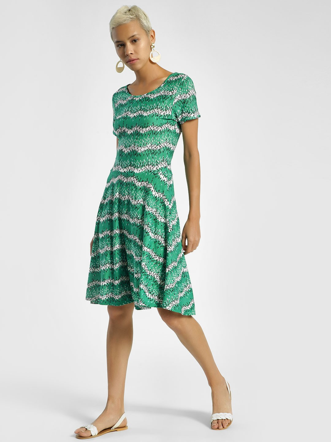 United Colors of Benetton Blue Abstract Print Skater Dress 1