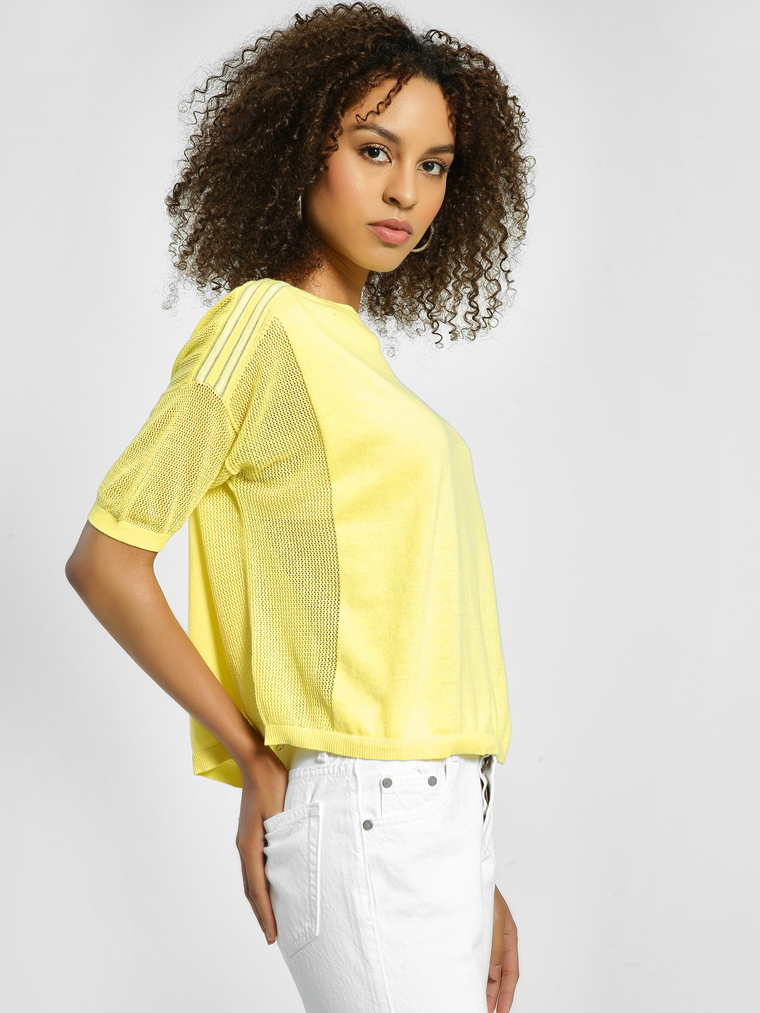 United Colors of Benetton Yellow Side Tape Knitted Blouse 1