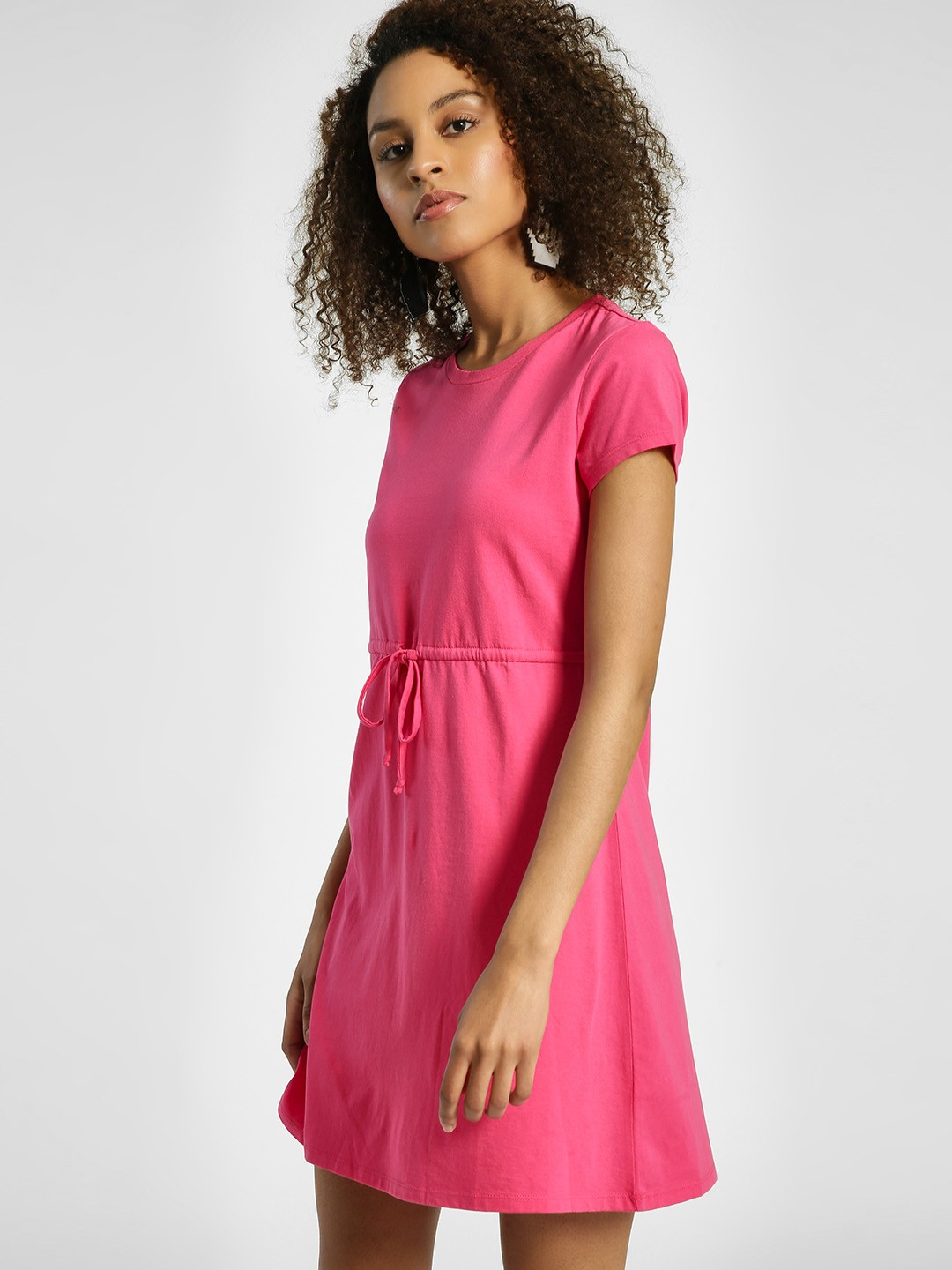 United Colors of Benetton Pink Drawstring Waist Shift Dress 1