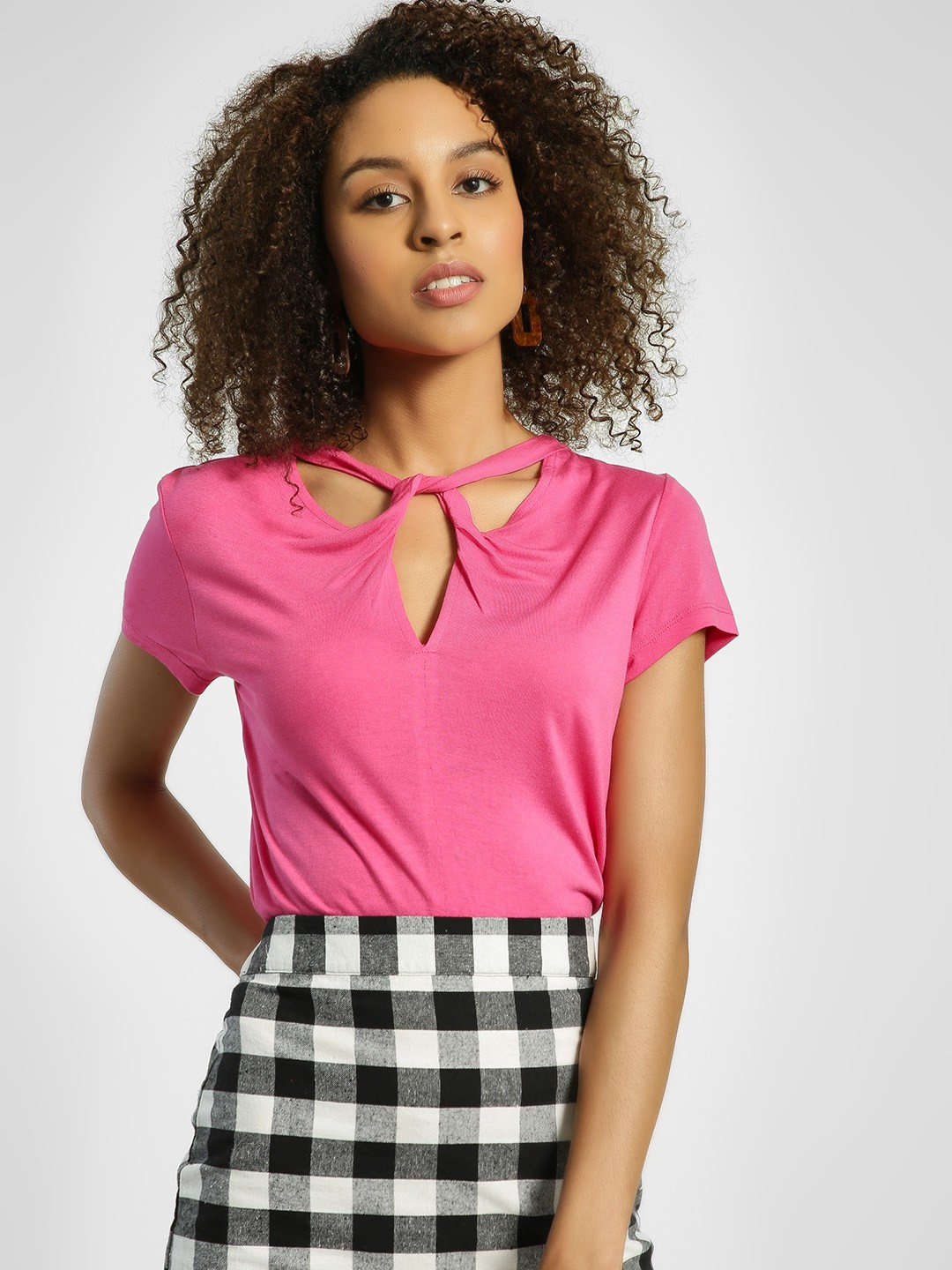 United Colors of Benetton Pink Twist Cut-Out Neck Blouse 1