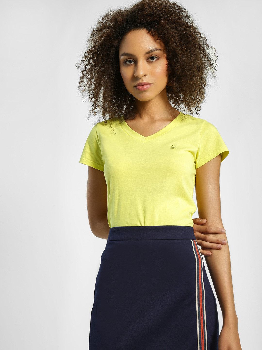 United Colors of Benetton Yellow Basic V-Neck T-Shirt 1