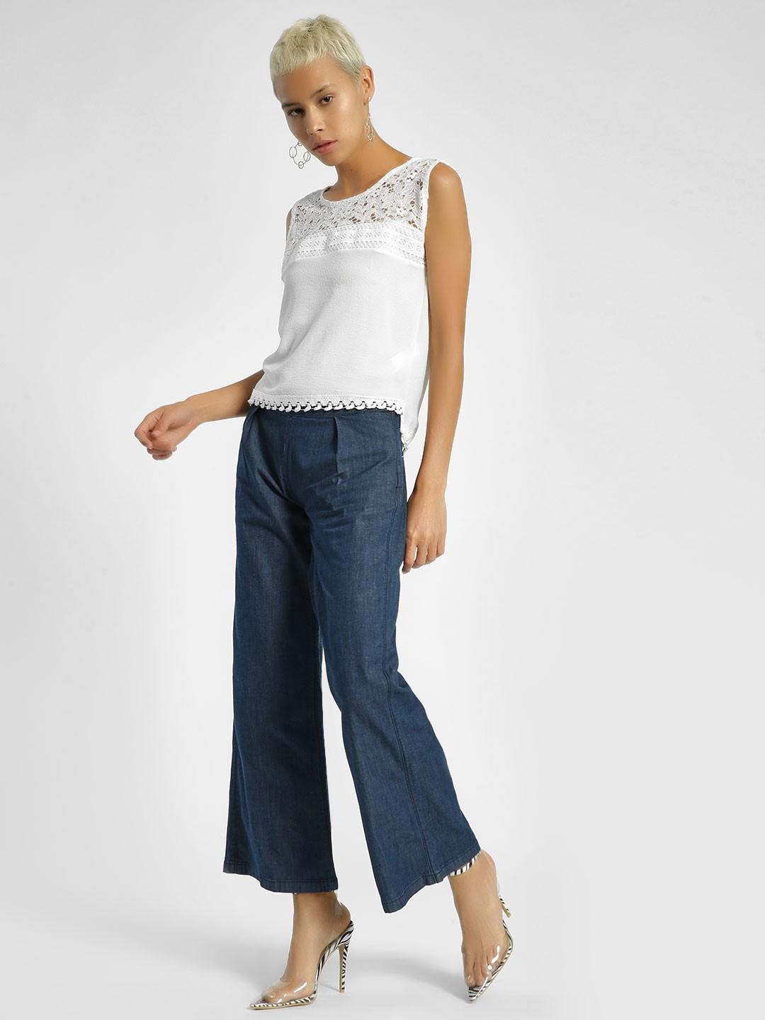 United Colors of Benetton Blue Paperbag Waist Flared Trousers 1